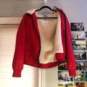 Garage Jackets & Coats - Garage Red Sherpa Lined Windbreaker